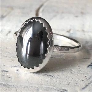sterling silver hematite ring ✨